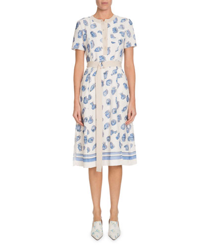 Caletta Short-Sleeve Belted Pottery-Print A-Line Midi Dress