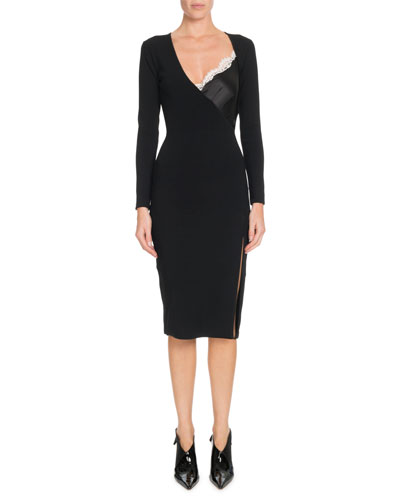 Gianni Cami-Inset V-Neck Long-Sleeve Bodycon Knit Dress