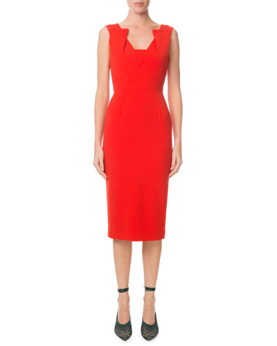 Pleated V-Neck Fitted Sheath Dress