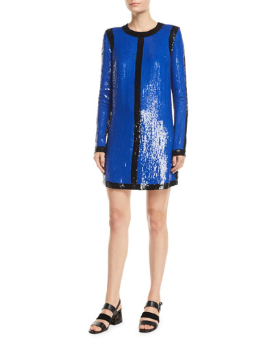 Long-Sleeve Sequin-Embroidered Shift Dress