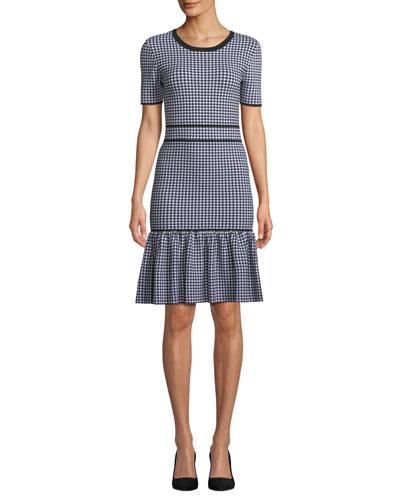 Crewneck Short-Sleeve Gingham Check Dress w/ Flounce