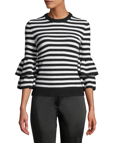 Cashmere-Striped Tiered-Sleeve Sweater