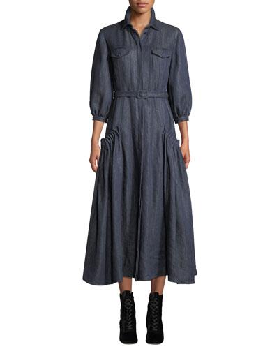 Woodward Belted Linen Ankle Dress, Dark Blue