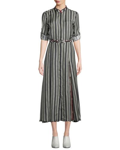 Belted Long-Sleeve Printed Midi Dress