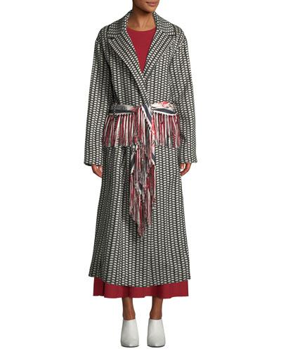 Jiminez Poncho-Print Mid-Calf Cashmere Coat