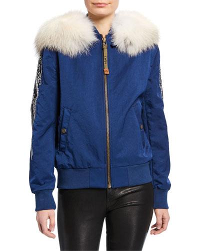 Fur-Collar Sequined-Sleeve Bomber Coat