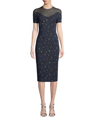 Short-Sleeve Night-Sky Jacquard Sheath Dress