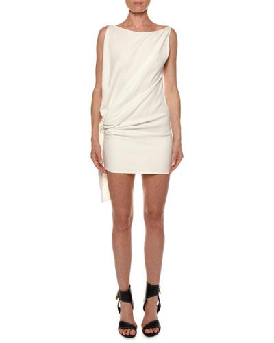 Open-Side Blouson Viscose Cady Mini Cocktail Dress