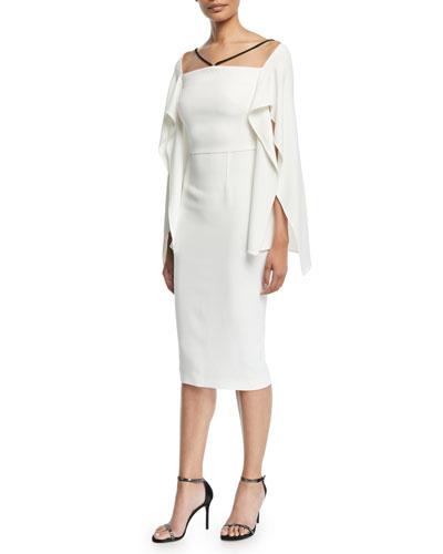 Fenland Flutter-Sleeve Crepe Midi Dress