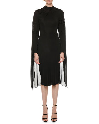 Cape-Back High-Neck Long-Sleeve Jersey Cocktail Dress