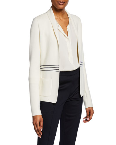 Striped-Waist Knit Jacket