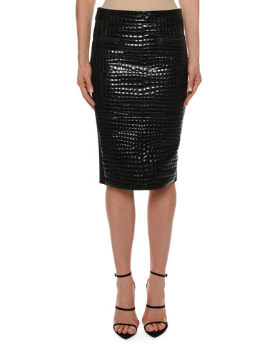 Crocodile-Embossed Leather Knee-Length Skirt