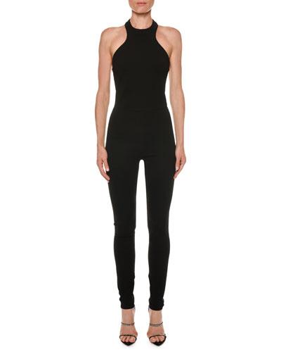 Racerback Sleeveless Skinny-Leg Viscose Jersey Jumpsuit