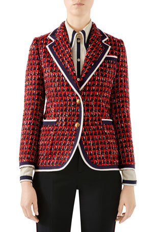 Gucci Geometric Tweed Blazer Jacket