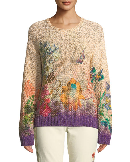 Etro Ombre Floral Chunky-Popcorn Knit Sweater
