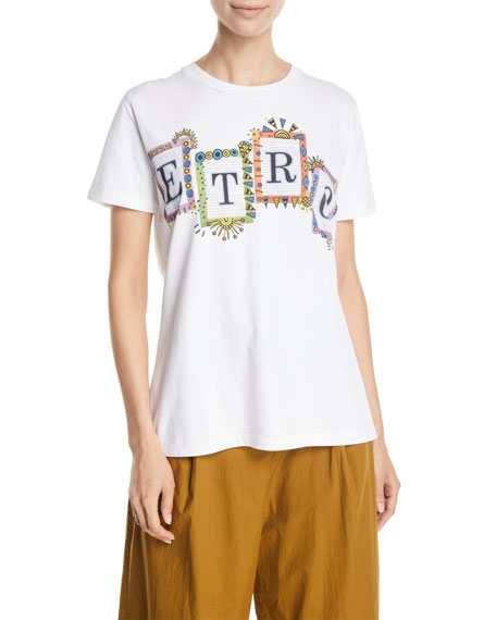 Etro Short-Sleeve Logo-Block Graphic Tee