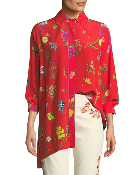 Etro Lucky-Charm Print Button-Front Blouse