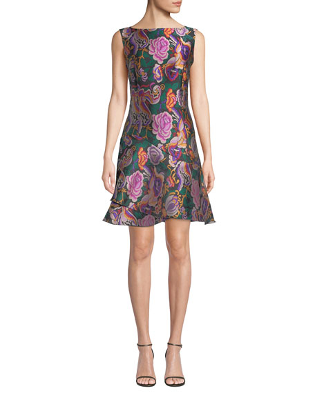Etro Sleeveless Cabbage-Rose Jacquard Dress