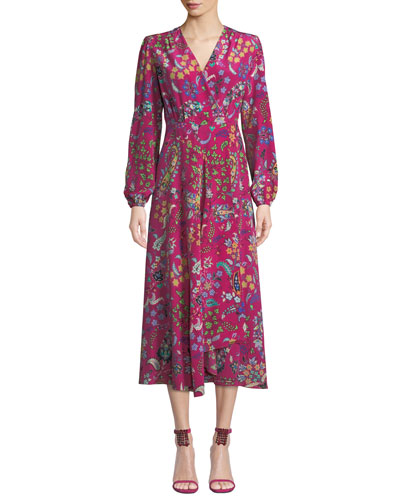 Long-Sleeve Floral Print Midi Wrap Dress
