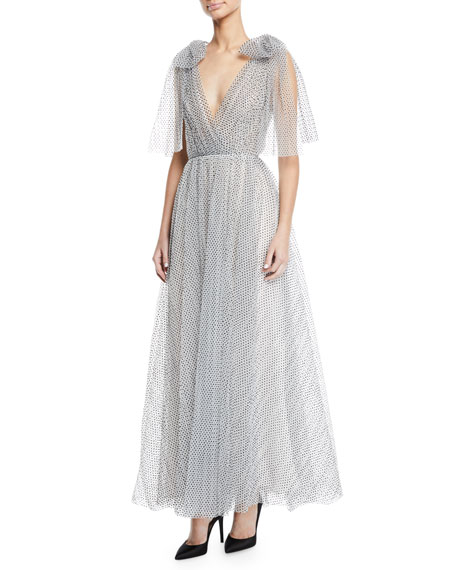 Monique Lhuillier V-NECK BOW-SHOULDER PLEATED DOT TULLE GOWN