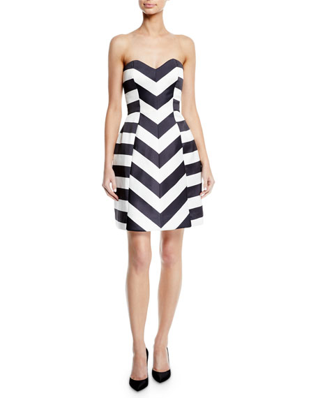 MONIQUE LHUILLIER Strapless Striped Mikado Fit-And-Flare Cocktail Dress in White/Black