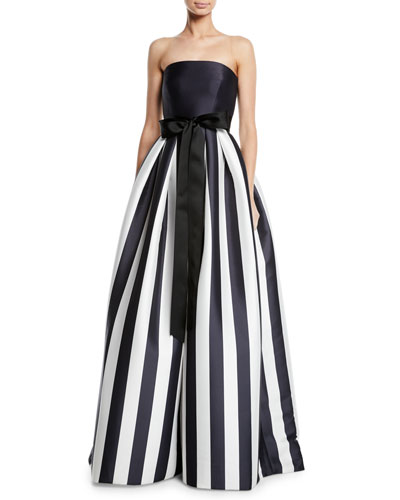 Striped Mikado Bow-Waist Strapless Ball Gown with Full Skirt