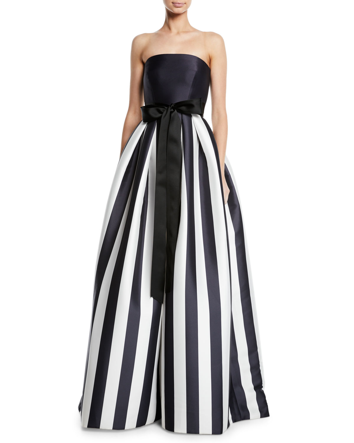 Monique Lhuillier Striped Mikado Bow-Waist Strapless Ball Gown with ...