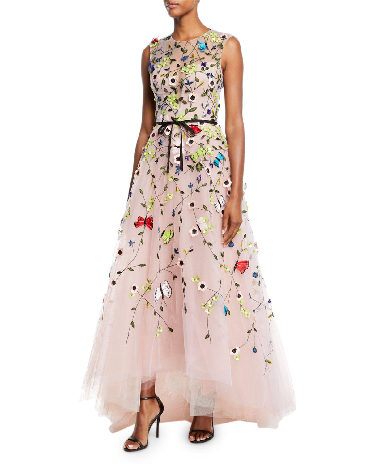 Monique Lhuillier Jewel Neck Sleeveless Floral Embroidered Tulle A