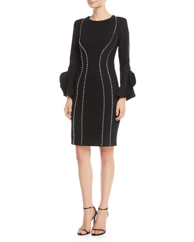 Studded Bell-Sleeve Crepe Dress