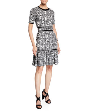 afac42a1fded Michael Kors Collection Gingham Floral Jersey Flounce Dress