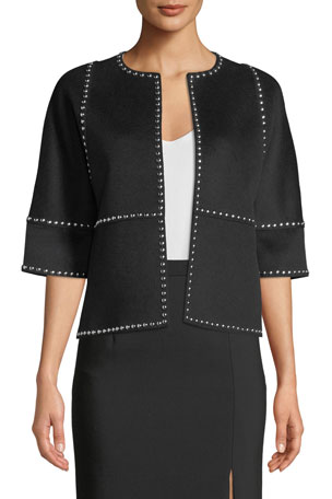 Michael Kors Collection Half-Sleeve Melton-Studded Coat