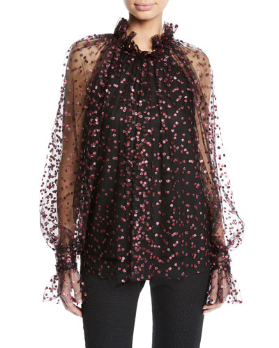 Glitter-Confetti Frilled Tulle Blouse