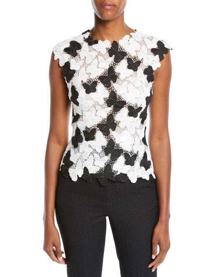 Monique Lhuillier BUTTERFLY LACE-GUIPURE SHELL TOP
