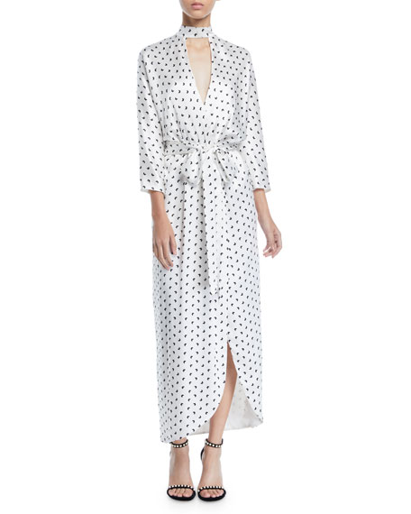 Monique Lhuillier BUTTERFLY-PRINT SATIN FAUX-WRAP LONG DRESS