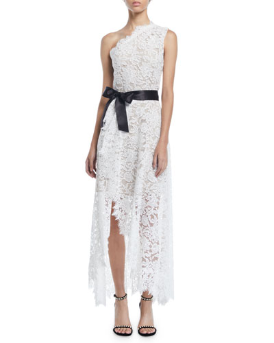One-Shoulder Faux-Wrap Floral Corded Lace Cocktail Dress