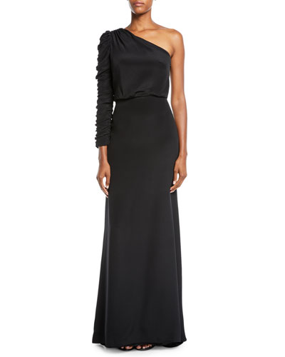 Ruched Long-Sleeve A-Line Crepe Evening Gown