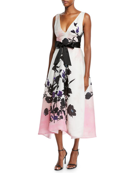 Monique Lhuillier V-NECK SLEEVELESS RIBBON-BELT FLORAL-PRINT DAYTIME DRESS