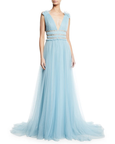 Monique Lhuillier V Neck Sleeveless Shirred Soft Tulle Evening Gown