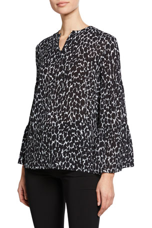 Michael Kors Collection Cheetah-Print V-Neck Tiered-Sleeve Peasant Blouse