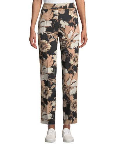 Mid-Rise Poppy Print Trousers