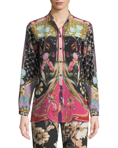 Garden Of Eden Silk Button-Front Shirt