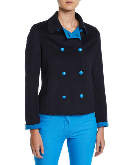Escada DOUBLE-BREASTED SHORT WOOL-CASHMERE JACKET
