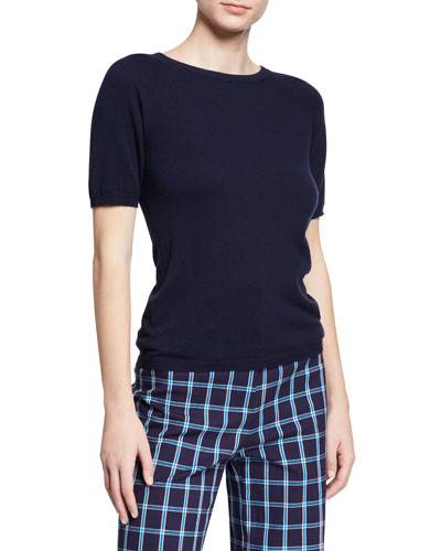 Wool-Cashmere Short-Sleeve Pullover Sweater