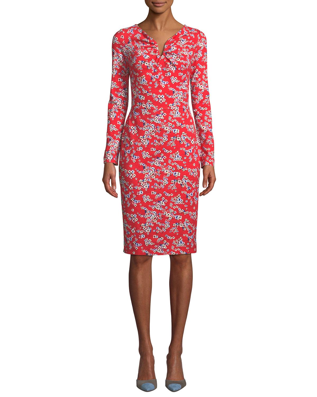 870680ca8d7d Escada Long-Sleeve Floral-Print Jersey Dress