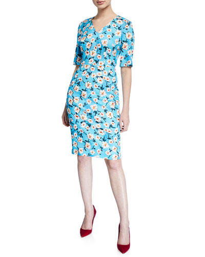 V-Neck Short-Sleeve A-Line Floral-Print Jersey Dress