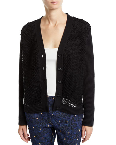 Wool-Cashmere Sequined Button-Front Cardigan