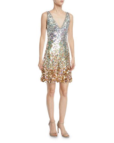 Sleeveless V-Neck Ombre Sequin Dress