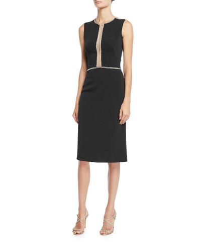 Sleeveless Embellished Illusion Sheath Dress