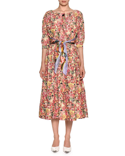 Elbow-Sleeve Tie-Waist A-Line Floral-Print Dress w/ Scarf