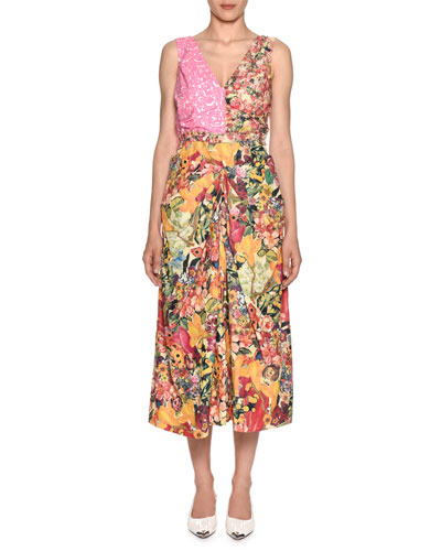 Sleeveless V-Neck Mixed-Print A-Line Midi Dress